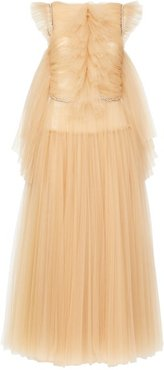 Paige Crystal-embellished Tulle Midi Dress - Womens - Beige