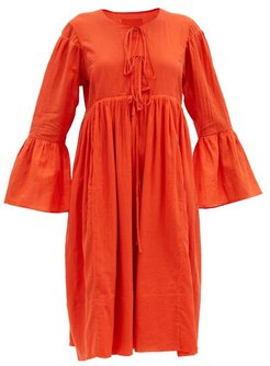 Minerva Bell-sleeve Organic-cotton Dress - Womens - Red
