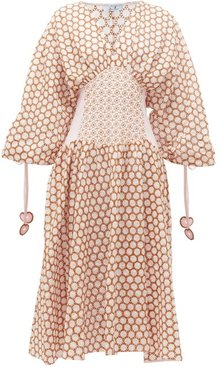 Ruched-sleeve Broderie-anglaise Cotton Midi Dress - Womens - Light Pink