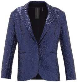 Single-breasted Sequinned Jersey Blazer - Womens - Navy