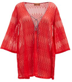 Zigzag-knitted Kaftan - Womens - Red