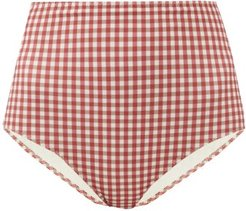 Pepe High-rise Gingham Bikini Briefs - Womens - Red Print
