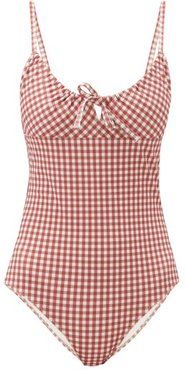Drindle Drawstring Gingham Seersucker Swimsuit - Womens - Red Print