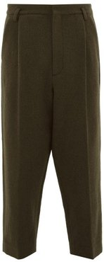Exaggerated Tapered-leg Boiled-wool Trousers - Mens - Green