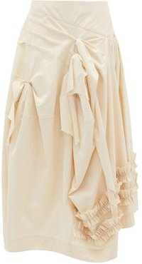 Juliet Frilled Cotton-canvas Midi Skirt - Womens - Ivory