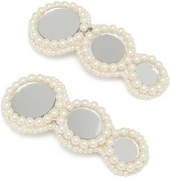 Pearl And Mirror-embellished Hair Clips - Womens - White