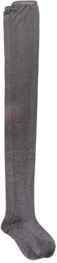 Over-the-knee Roll-top Silk Socks - Womens - Charcoal