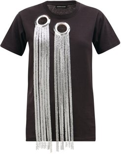 Eyelet And Chainmail-embellished Cotton T-shirt - Womens - Black