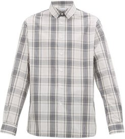 Checked Cotton Shirt - Mens - Navy Print
