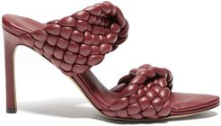 The Curve Padded Intrecciato Leather Mules - Womens - Burgundy