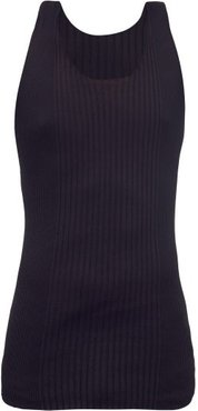 Twist-back Cotton-blend Ribbed Tank Top - Mens - Black