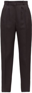 Satin-stripe Tapered Tuxedo Trousers - Womens - Black