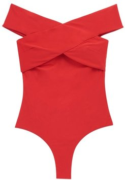 Paula Off-the-shoulder Swimsuit - Womens - Red