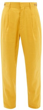 High-rise Linen-blend Pleated Suit Trousers - Mens - Yellow