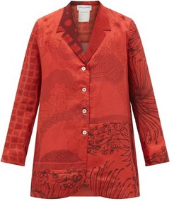 Floral-print Upcycled-scarf Silk Shirt - Mens - Red