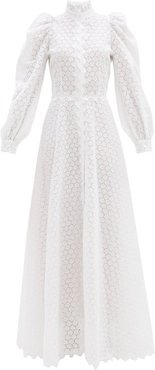High-neck Linen-blend Broderie Anglaise Gown - Womens - White