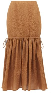 Seashell Cotton-seersucker Midi Skirt - Womens - Brown