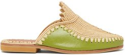 Raffia And Leather Backless Loafers - Womens - Green