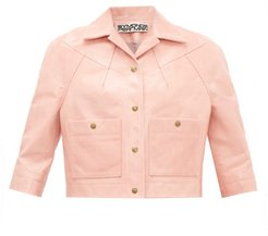 Cropped-sleeve Leather Jacket - Womens - Pink