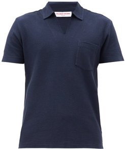 Lincoln Open-collar Cotton Polo Shirt - Mens - Navy