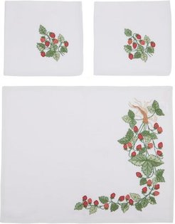 Strawberry-embroidered Placemats & Napkins Set - Red Multi