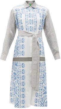 Vintage Cross-stitch & Checked Cotton Shirt Dress - Womens - Multi