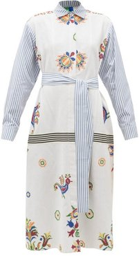 Vintage Cross-stitch And Stripe Cotton Shirt Dress - Womens - Multi