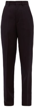 High-rise Wool Tailored Trousers - Womens - Navy