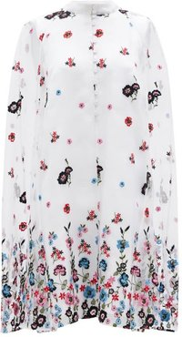 Caelyn Cape-back Floral-embroidered Organza Dress - Womens - White Multi
