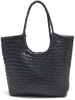 Triple Jump Small Woven-leather Basket Bag - Womens - Navy
