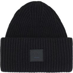 Pansy Face Patch Wool Beanie - Mens - Black