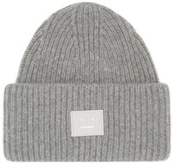 Pansy Face Patch Wool Beanie - Mens - Grey