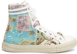 Reconstructed High-top Cotton-canvas Trainers - Mens - Multi