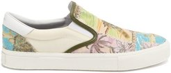 Embroidered Frond-print Slip-on Canvas Trainers - Mens - Multi