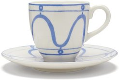 Serenity Swirl Porcelain Cup And Saucer Set - Blue White