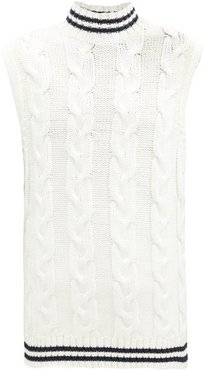Cable-knit Cotton-blend Sleeveless Sweater - Womens - Ivory