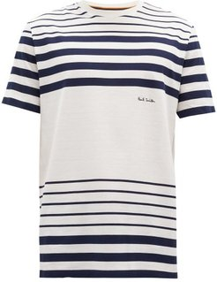 Logo-embroidered Striped Cotton-jersey T-shirt - Mens - White Navy
