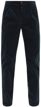 Pleated Cotton-blend Corduroy Tapered Trousers - Mens - Navy