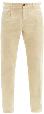 Pleated Cotton-blend Corduroy Tapered Trousers - Mens - Cream