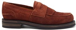 Stacked-sole Suede Penny Loafers - Mens - Brown