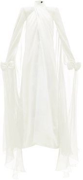 Bow-embellished Silk-georgette Gown - Womens - Ivory