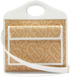 Pocket Large Tb-woven Raffia Handbag - Womens - Beige Multi