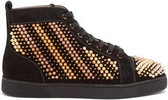 Galvalouis Spike-embellished Suede Trainers - Mens - Black Multi