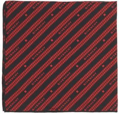 Chain-jacquard Silk-faille Pocket Square - Mens - Black Red