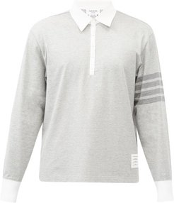 Four-bar Cotton-jersey Rugby Shirt - Mens - Light Grey