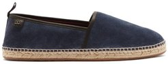 Leather-piped Suede Espadrilles - Mens - Blue