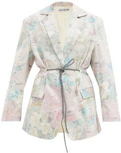 Ali Floral Upcycled-bedsheet Cotton Blazer - Womens - Multi