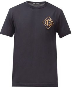 Monogram-embroidered Cotton-jersey T-shirt - Mens - Navy