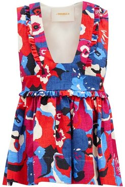 Casati Fluted Floral-print Shot-cotton Top - Womens - Red Multi