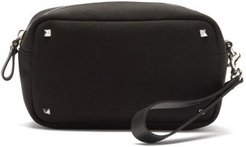 Rockstud Leather-trimmed Wash Bag - Mens - Black